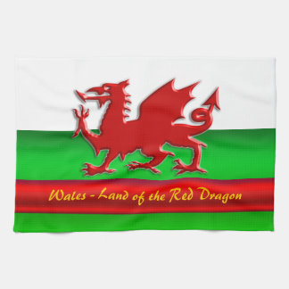 Wales - Home of the Red Dragon, metallic-effect Kitchen Towel