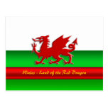 Wales - Home of the Red Dragon, metallic-effect Postcard