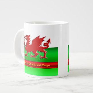 Wales - Home of the Red Dragon, metallic-effect 20 Oz Large Ceramic Coffee Mug