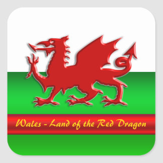 Wales - Home of the Red Dragon, metallic-effect Stickers