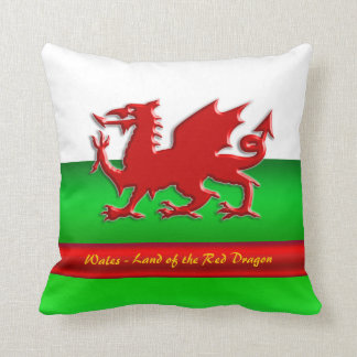 Wales - Home of the Red Dragon, metallic-effect Throw Pillow