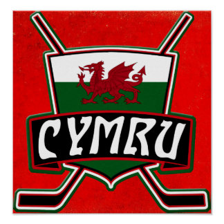 Wales Ice Hockey Flag Poster