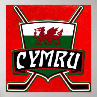 Wales Ice Hockey Flag Print