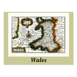 Wales Map and/or Flag Postcard