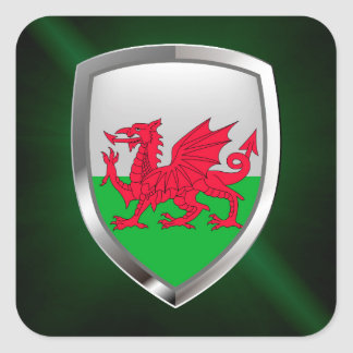 Wales Metallic Emblem Square Sticker