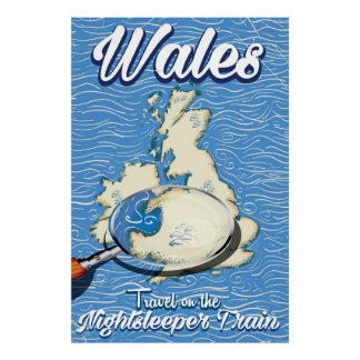 Wales Nightsleeper train British travel poster