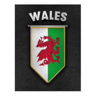 Wales Pennant with high quality leather look Postcard