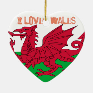 Wales Red Dragon Flag Love Heart Ceramic Ornament