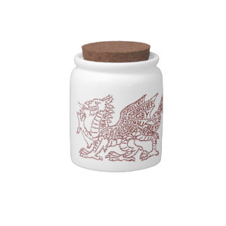 Wales Red Dragon Typography Gift Candy Jar