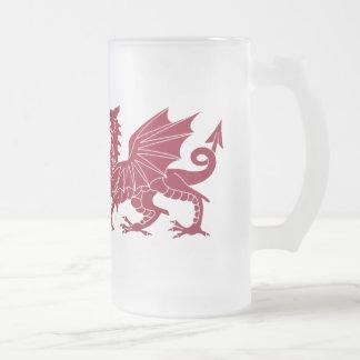 Wales Red Medieval Dragon Glass Beer Mug