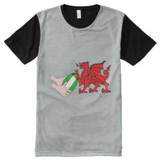 Wales Rugby Team  Dragon With Rugby Ball All-Over Print Shirt