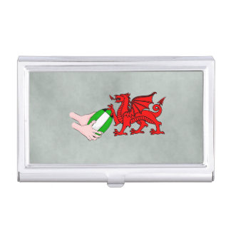 Wales Rugby Team  Dragon With Rugby Ball Business Card Case