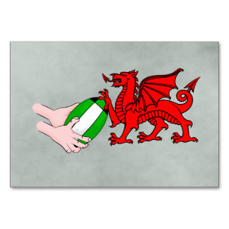 Wales Rugby Team  Dragon With Rugby Ball Card