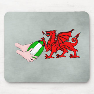 Wales Rugby Team  Dragon With Rugby Ball Mouse Pad