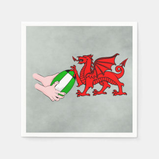 Wales Rugby Team  Dragon With Rugby Ball Napkin