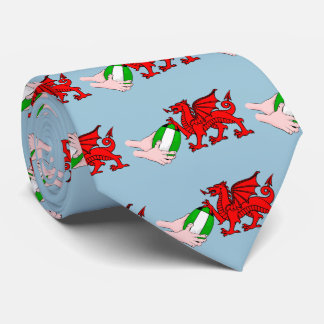 Wales Rugby Team  Dragon With Rugby Ball Neck Tie