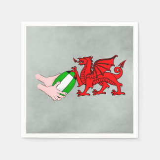 Wales Rugby Team  Dragon With Rugby Ball Paper Napkin