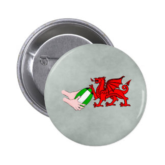 Wales Rugby Team  Dragon With Rugby Ball Pinback Button