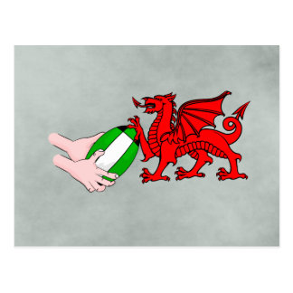 Wales Rugby Team  Dragon With Rugby Ball Postcard