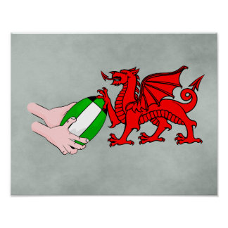 Wales Rugby Team  Dragon With Rugby Ball Poster