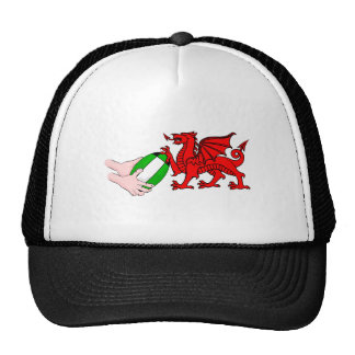 Wales Rugby Team  Dragon With Rugby Ball Trucker Hat