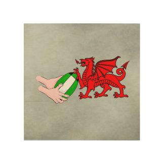 Wales Rugby Team  Dragon With Rugby Ball Wood Wall Decor