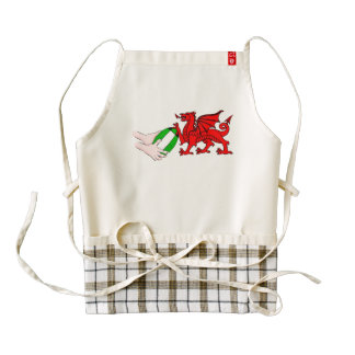 Wales Rugby Team  Dragon With Rugby Ball Zazzle HEART Apron