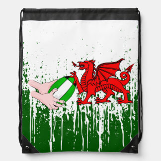 Wales Rugby Team Supporters Flag With Ball Drawstring Bag