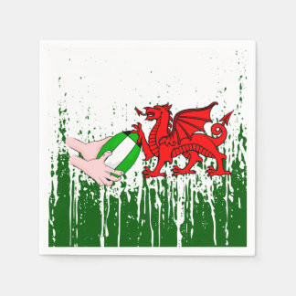 Wales Rugby Team Supporters Flag With Ball Paper Napkin
