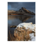 Wales, snow and lake poster