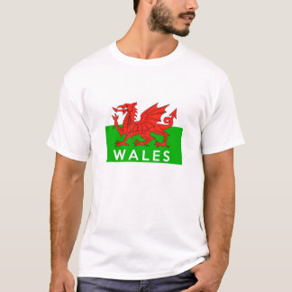 wales united kingdom country flag text name T-Shirt