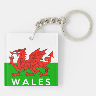 wales united kingdom country flag text name welsh keychain