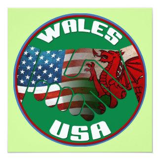 "Wales USA Handshake Party Invitations 5.25"" Square Invitation Card"