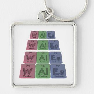 Wales-W-Al-Es-Tungsten-Aluminium-Einsteinium.png Llavero Cuadrado Plateado