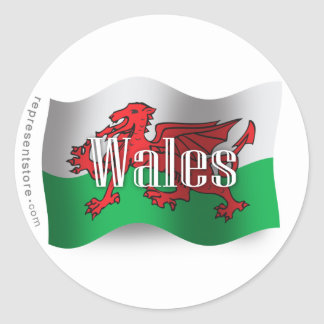 Wales Waving Flag Classic Round Sticker
