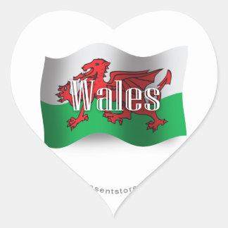 Wales Waving Flag Heart Sticker
