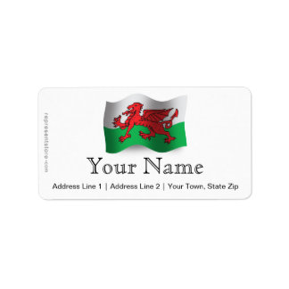 Wales Waving Flag Label