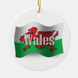 Wales Waving Flag Double-Sided Ceramic Round Christmas Ornament