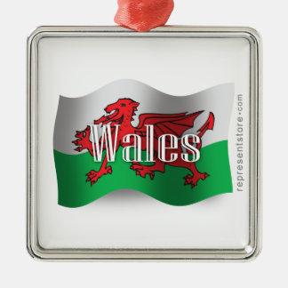 Wales Waving Flag Square Metal Christmas Ornament
