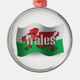 Wales Waving Flag Round Metal Christmas Ornament