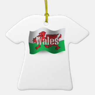 Wales Waving Flag Double-Sided T-Shirt Ceramic Christmas Ornament