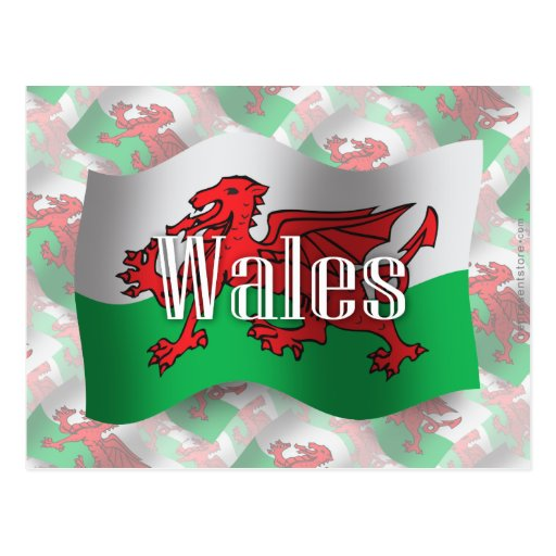 Wales Waving Flag Postcards
