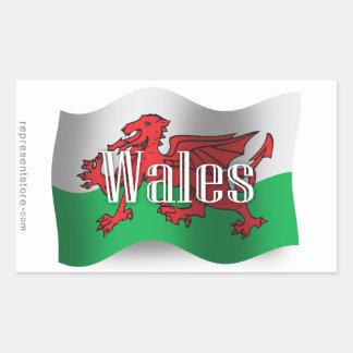 Wales Waving Flag Rectangular Sticker