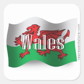Wales Waving Flag Square Sticker