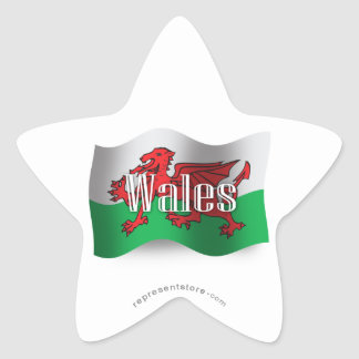 Wales Waving Flag Star Sticker