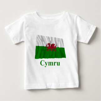 Wales Waving Flag with Name in Welsh Baby T-Shirt