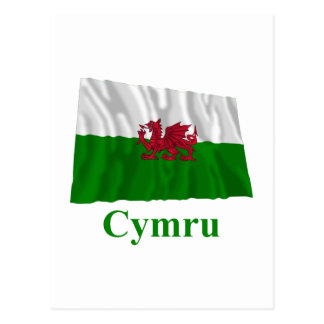 Wales Waving Flag with Name in Welsh Postcard