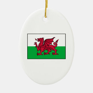 Wales Welsh Flag Dragon Double-Sided Oval Ceramic Christmas Ornament