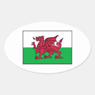 Wales Welsh Flag Dragon Oval Sticker