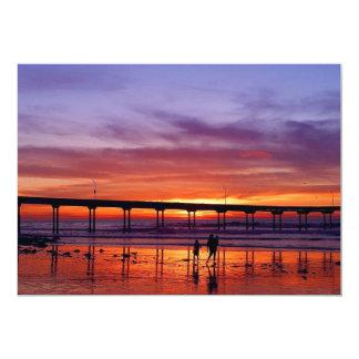 walk-3641 walk afterglow web pier sunset sea ocean 5x7 paper invitation card